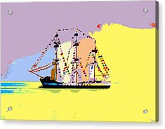 Acrylic Print featuring the painting Jose Gasparilla Sailing Colorful Tampa Bay by David Lee Thompson