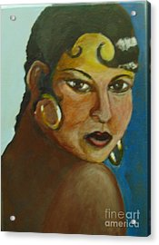 Acrylic Print featuring the painting Josephine Baker by Saundra Johnson