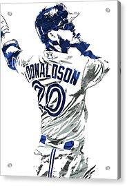 Acrylic Print featuring the mixed media Josh Donaldson Toronto Blue Jays Pixel Art by Joe Hamilton