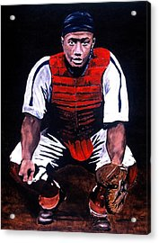 Josh Gibson - Catcher Acrylic Print by Ralph LeCompte