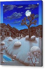 Joshua Tree At Night Acrylic Print by Snake Jagger
