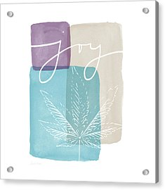 Joy Cannabis Leaf Watercolor- Art By Linda Woods Acrylic Print by Linda Woods