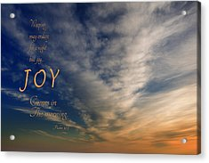 Joy Comes In The Morning Acrylic Print by Mary Jo Allen