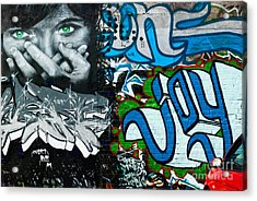 Acrylic Print featuring the painting Joy Graffiti Wall  by Yurix Sardinelly