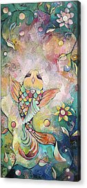 Joyful Koi I Acrylic Print by Shadia Derbyshire