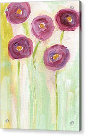 Joyful Poppies- Abstract Floral Art Acrylic Print by Linda Woods