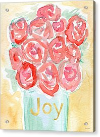 Joyful Roses- Art By Linda Woods Acrylic Print by Linda Woods