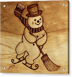 Joyful Snowman  Coffee Paintings Acrylic Print