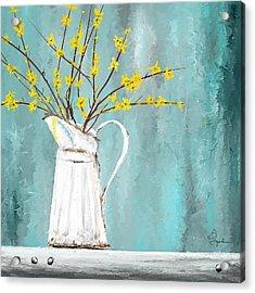 Joys Of Bloom - Forsythia Art Acrylic Print by Lourry Legarde