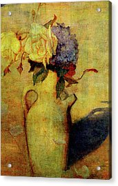 Jug With Yellow And Violet Flowers Acrylic Print by Sarah Vernon