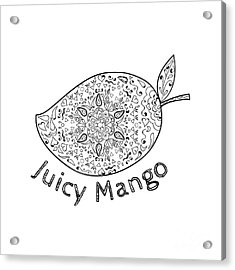 Juicy Mango Black And White Mandala  Acrylic Print