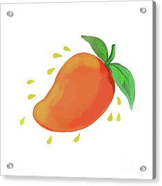 Juicy Mango Fruit Watercolor Acrylic Print