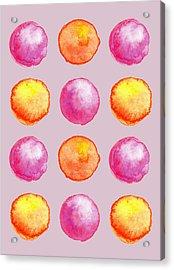 Juicy Watercolor Pink And Orange Spheres Pattern Acrylic Print
