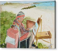 Acrylic Print featuring the painting Julia Painting At Boynton Inlet Beach  by Donna Walsh
