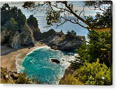 Julia Pfeiffer State Park Falls Acrylic Print by Connie Cooper-Edwards