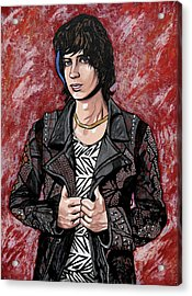 Acrylic Print featuring the painting Julian Casablancas Red by Sarah Crumpler
