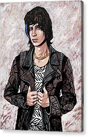 Acrylic Print featuring the painting Julian Casablancas White by Sarah Crumpler