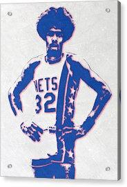 Julius Erving New York Nets Pixel Art Acrylic Print by Joe Hamilton