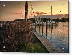 Crab Pots And Sailboats Acrylic Print by Glenn Gemmell
