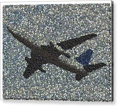 Acrylic Print featuring the mixed media Jumbo Jet Airplane Made Of Cockpit Panel Dials Mosaic by Paul Van Scott