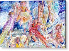 Jumping For Joy Angels Acrylic Print by Laurie Parker