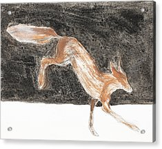 Jumping Fox In The Snow Acrylic Print by Sophy White