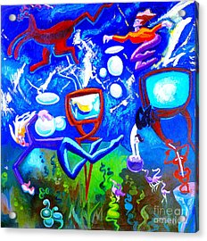 Acrylic Print featuring the painting Jumping Through Tv Land by Genevieve Esson