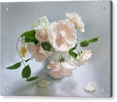 June Roses With Honeysuckle Acrylic Print