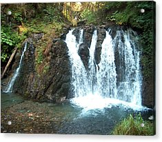 Juneau Waterfall Acrylic Print by Janet  Hall