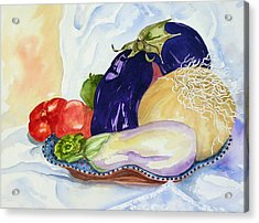 Acrylic Print featuring the painting June's Veggies by Pat Crowther