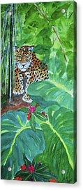 Acrylic Print featuring the painting Jungle Jaguar by Ellen Levinson