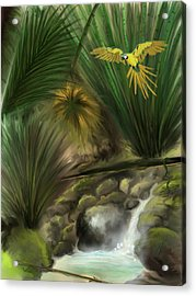 Acrylic Print featuring the digital art Jungle Parrot by Darren Cannell