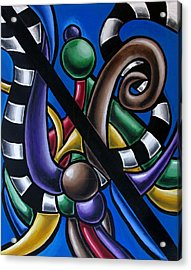Colorful 3d Abstract Art Painting - Multicolored Original Artwork - Black And White Stripes Acrylic Print