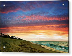 Juno Beach Florida Sunrise Seascape D7 Acrylic Print by Ricardos Creations