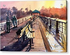 Juno Beach Pier At Sunset Acrylic Print by Spencer Meagher
