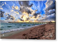 Juno Beach Pier Florida Sunrise Seascape D7 Acrylic Print by Ricardos Creations