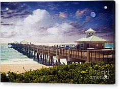 Juno Beach Pier Treasure Coast Florida Seascape Dawn C5a Acrylic Print by Ricardos Creations