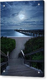 Juno Pier Stairs To Beach Under Full Moon Acrylic Print