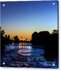 Jupiter And Venus Over The Willamette River In Eugene Oregon Acrylic Print