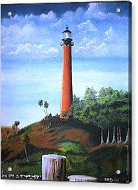 Jupiter Lighthouse And Pilings Acrylic Print