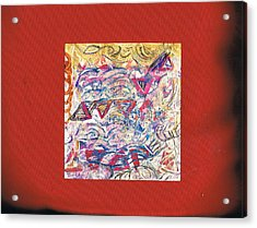 Just A Little Abstract On A Red Satin Pillow Acrylic Print by Anne-Elizabeth Whiteway