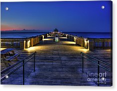 Acrylic Print featuring the photograph Just Before Dawn Folly Beach Pier Charleston Sc Sunrise Art by Reid Callaway
