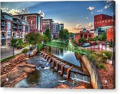 Just Before Sunset 2 Reedy River Falls Park Greenville South Carolina Art Acrylic Print