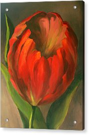 Acrylic Print featuring the painting Just One Red Tulip by Vikki Bouffard