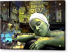 Just Swimming In New York City Acrylic Print by Jeff Burgess