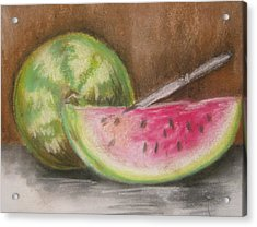 Acrylic Print featuring the drawing Just Watermelon by Leslie Manley