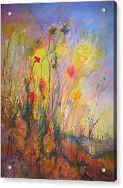Just Weeds Acrylic Print by Mary Schiros