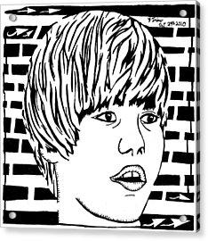 Justin Bieber Maze Portrait Acrylic Print by Yonatan Frimer Maze Artist
