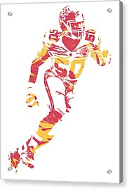 Justin Houston Kansas City Chiefs Pixel Art 5 Acrylic Print