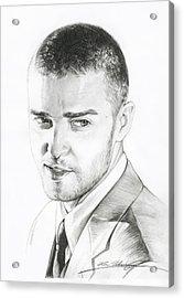 Justin Timberlake Drawing Acrylic Print by Lin Petershagen